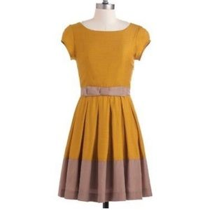 Gillian Dear Creatures Dress Mustard/Taupe Medium